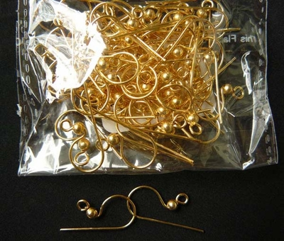 Fishhook Ear Wire with Ball - 24 ga. - 24KT Gold Over Copper - 25 Pairs