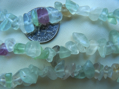 "Fluorite bead Chips 32"" strands natural colors"