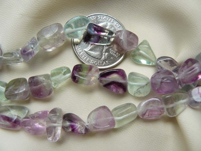 "Fluorite Beads- Chunky Toumbled Natural Colors 16"" Strands"