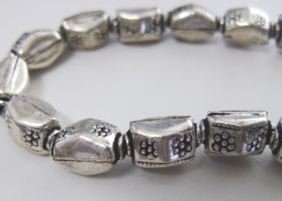 Flower Stamped Bead - 13x8x8mm - 15 Beads - .999 Silver Over Copper<br>MSS07