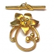 Flower Toggle - 30x18mm Flower w/ 30mm Bar - 3 sets - 24Kt. Gold Over Copper