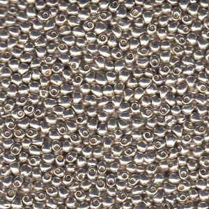Galvanized Silver Drop Seed Beads 9 Gram tubes
