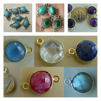 Gemstone links for jewelry design in gold or silver