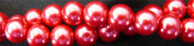 "Glass Pearls Uniform and nice Red 16"" strand 4- 6- or 8 MM"