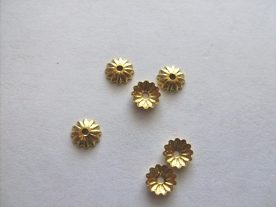 Gold Finish Small Fluted Bead Cap - JOK6E-1-