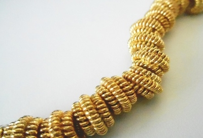 Bead - 6x10mm - 14 Beads - 24kt. Gold Over Copper<br>GCBK16