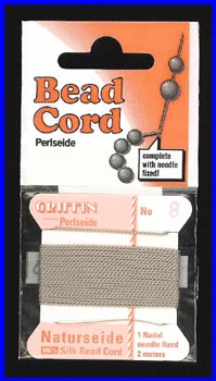 Gray 100% Silk Bead Cord