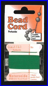 Green 100% Silk Bead Cord