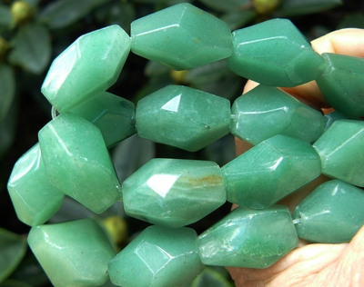 Green Aventurine beads Chunky Faceted avg. 18x23mm