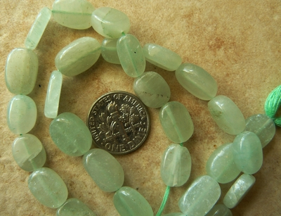 "Green Aventurine Beads 8x12mm Flat Ovals 14"" strands"