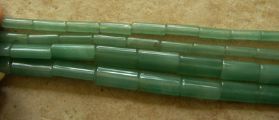 "Green Aventurine Beads 4x13mm Tubes 16"" strands"