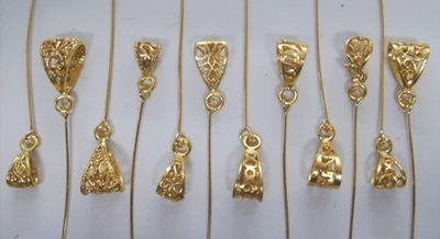 """- Head Pin Bails """"Wiggle Tail Bails"""" - 24KT Gold Over Copper"""