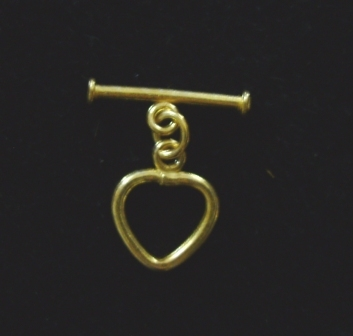 Heart Toggle - 15x18mm Heart w/ 25mm Bar - 6 sets - 24Kt. Over Copper