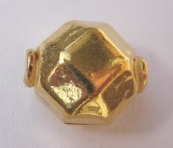 Hexagon Bead - 10x12mm - 24 kt. Gold Over Copper<br>GCBK48