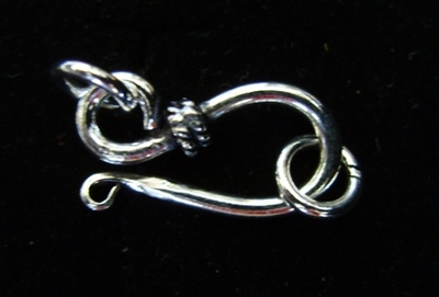 Hook and Eye Clasp with Rope Detail - 20mm Hook w/ 6mm Eye - 10 sets - .999 Silver Over Copper