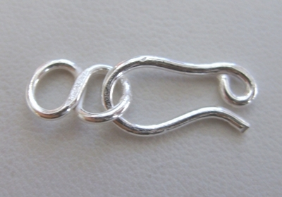 Hook and Eye Figure 8 clasp - 8x18mm Hook w/ 8x12mm Eye - 14 Clasps - .999 Silver Over Copper