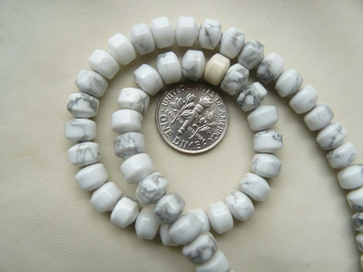 "Howlite Beads 7mm roundells 15"" Strands"