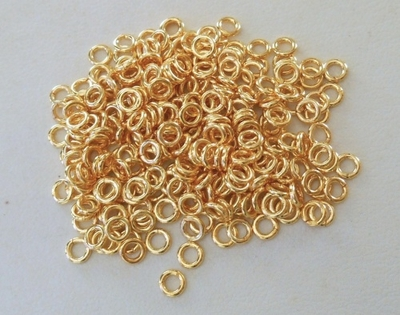 Jump Ring - 4mm - OPEN - 240 Pieces - 24kt. Gold Over Copper<br>GCBK44-4