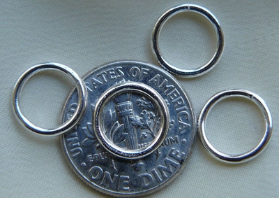 Jump Rings 10mm 20 Pieces Open Sterling Silver