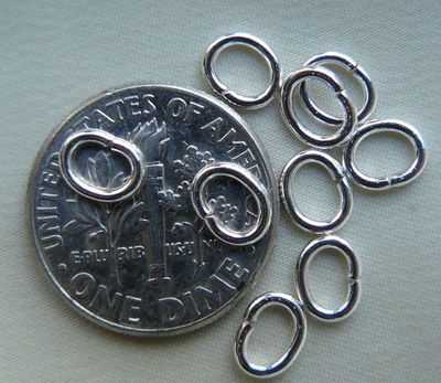 Jump Rings 3x4mm  20 Pieces  Closed  Oval  Sterling Silver