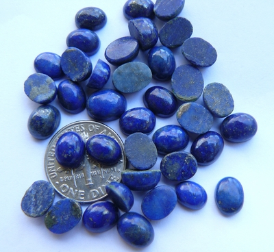 Lapis AAA Cabochons Oval 6x8mm calibrated polished everywere except bottom