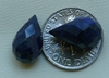 Lapis briolette beads faceted set of 2 drops 9x14mm