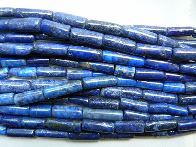 "Lapis Tube cylinder beads 5x14mm 15"" strands"