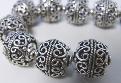 Large Bali Style Bead - 15mm - 14 Beads - .999 Pure Silver Over Copper<br>SCBK110