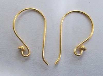 Large Fancy Detail Ear Wire - 17x30mm - 10 pairs - 24 Kt. Gold Over Copper