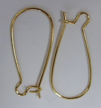 Large Kidney Ear Wires - 12x24mm - 10 Pairs - 24Kt. Gold Over Copper