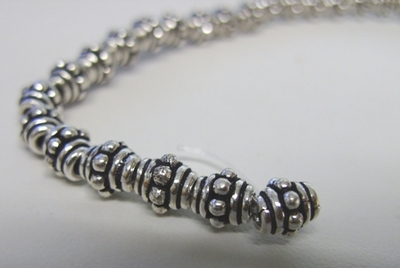 Layered Spacer - 6mm - 30 Beads - .999 Silver Over Copper<br>SCBK98