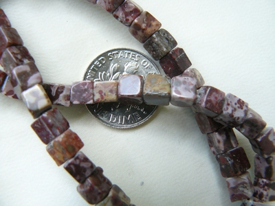 Leopard Skin Jasper square Beads 5mm 16 Inch Strands