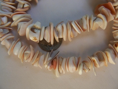 "light pink shell necklace with clasp 16"" avg 12mm shells"
