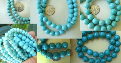 "Magnesite Turquoise Beads 8mm round 16"" strands"