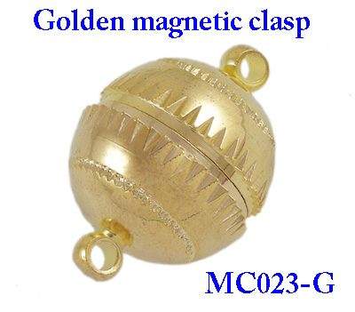 Magnetic Brass Clasps, Golden Color, about 16mm wide, 23.5mm long; hole: 2mm