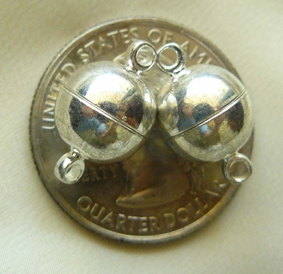 Magnetic Clasps smooth round silver finish 2 sets