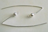 Marquis Ear Wire w/ 4mm Ball - 1 Pair - 45x15mm - Sterling Silver<br>5006600