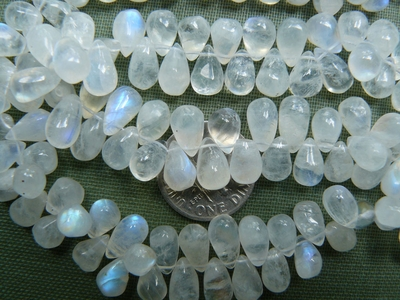 Rainbow Moonstone side drilled drops lots of blue flash 5x9mm