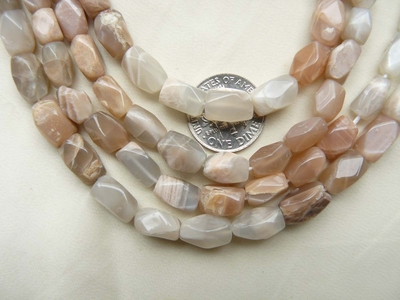 "Peach Moonstone Beads Faceted 11x6mm 15"" Strands"