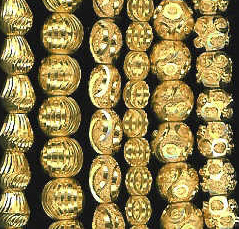 "More Diamond Cut Gold Plated Brass Beads 8"" Strands"