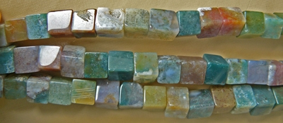 "Moss Agate 7mm Square Beads 16""Strands"
