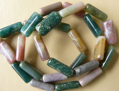 Moss Agate 8x15mm Multicolor  tube rectangle Beads