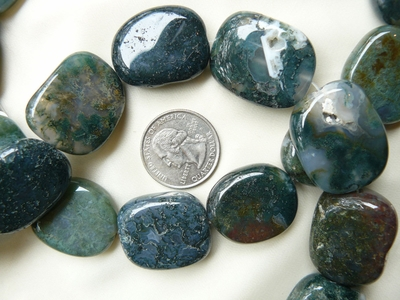 "Moss Agate Beads 25x30mm Larger Flat Ovals 16"" Strands"