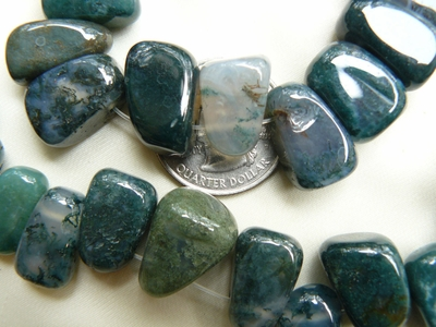 "Moss Agate Beads Top Drilled Chunkey cubes 15"" Strands"
