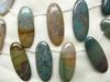 Moss Agate Beads 19x44mm Top Drilled Ovals