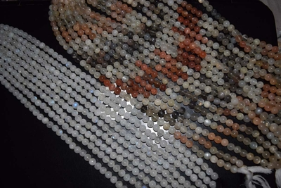 "Multi-Color Moonstone Mala Beads 14"" strands 8mm Round"