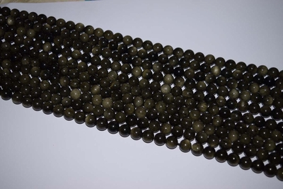 "Obsidian Mala Beads 14"" strands 8-8.5mm uniformly strung"