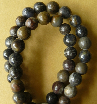 "Picasso Marble Beads Darker 8mm 16"" strand"