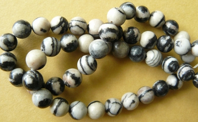 "Picasso Marble Beads 8mm 16"" strand Zebra look"