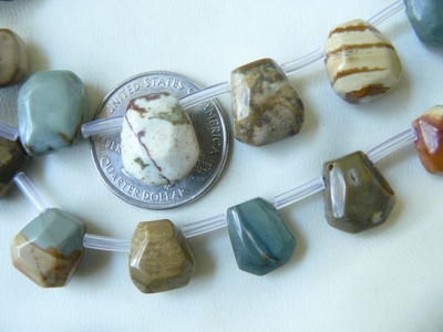 """Picture Jasper Carved Nugget Beads 16"""" Strand"""